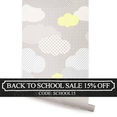Clouds Grey L Stick Fabric Wallpaper Repositionable