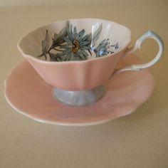 Vintage Pink & White Bone China Tea Cup w. Flowers