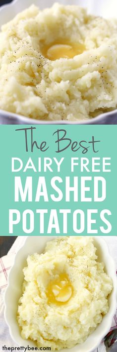 The best dairy free mashed potatoes - these are buttery, fluffy, and delicious! Perfect for a holiday meal. #glutenfree #dairyfree #vegan