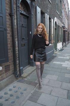 Zara grey masculine coat monochrome leather skirt river island over the knee otk grey boots