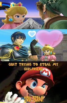 Mario is Sick of All the People Flirting With Peach - Video Game Memes Video Game Memes, Video Games Funny, Funny Games, Mario Funny, Mario Memes, Super Smash Bros Memes, Super Mario Bros, Nintendo, Princesa Peach