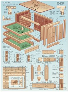 If you're a mechanic, finding a toolbox is no problem - there are dozens on the market, from huge roll-around shop cases to small metal boxes. Framers, plumbers and. Wood Tool Box, Wooden Tool Boxes, Wood Tools, Woodworking Skills, Woodworking Projects Diy, Woodworking Plans, Wood Projects, Youtube Woodworking, Workbench Plans