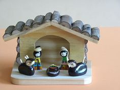 Nativity set from El Salvador, hand made with wood and seeds