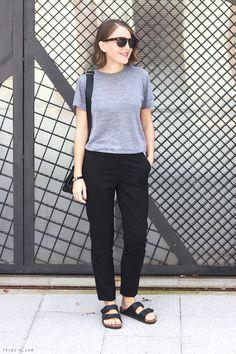 Trini   The Kooples black trousers American Apparel tshirt Birkenstock sandals Anya Hindmarch bag