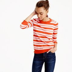 JCrew Tippi Sweater - Mixed stripe in pomegranate petal