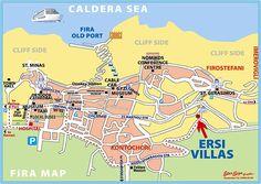Town map of Fira, Santorini