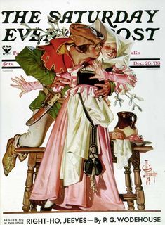 """J. C. Leyendecker - The Saturday Evening Post Magazine cover (December 23, 1933) """"Stealing a Christmas Kiss"""""""