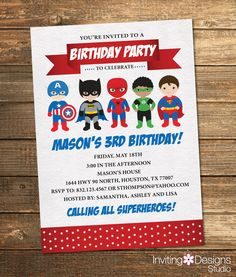 Superhero Birthday Invitation, Boy Birthday Party, Third, First, Fifth, Second, Fourth, Superheroes, Superheros, Red, Blue, Printable File by InvitingDesignStudio on Etsy