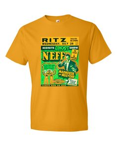 Neff, Madhouse of Mystery, Men's T-Shirt, this design was created from a Vintage vaudville poster from the last century. Check out our blog  : ^  ) http://www.wildburrocustomtshirts.com/vintage-movie-vaudeville-poster-apparel/