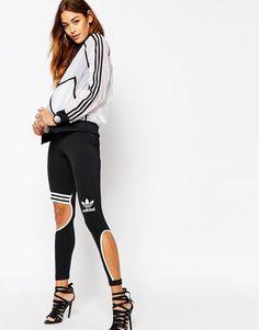 Adidas Originals Rita Ora W Transparent White Jacket Size UK 12 14 Cut Out Leggings, Striped Leggings, Tight Leggings, Yoga Leggings, Striped Pants, Rita Ora Adidas, Cute Tights, Bra Video, Adidas Pants
