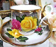 ROYAL ALBERT yellow ROSES TEA CUP AND SAUCER