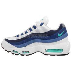 Nike Men's Air Max 95 Og White/Emerald Green/Court Blue Running Shoe