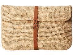 Hat Attack Raffia Crochet Clutch (Natural/Leather Belt) - ZAPPOS