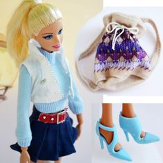 Cute Handmade New Chic 5 Pcs Set Barbie Doll Top + Bag + Skirt + Shoes  F373 (1/6 scale doll clothes sweater - should fit Obitsu/Volks 27cm and smaller bjd, Azone Pure Neemo, and Blythe fairly well)