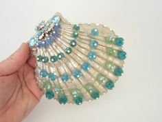 Large hand painted shell with crystals - a unique conversation piece for your home!