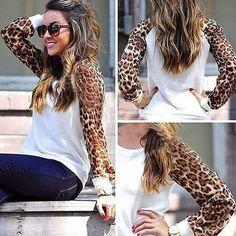 White Leopard Patchwork Print Fashion Chiffon Blouse