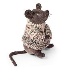 Dora Designs Duncan Mouse Door Stop, Dark Brown Plush With Knitted Jumper.  Height 22cm