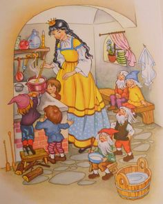 Grimms' Fairy Tales - Snow White and The 7 Dwarfs (Snow White Cooking) Full Colour Illustration (a)