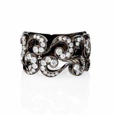Diamond Antique Style 18k White Gold and Black Rhodium Ring
