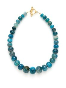 Alanna Bess Jewelry Faceted Blue Agate & Orange Zircon Necklace