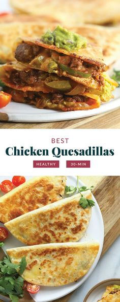 Welcome to the best chicken quesadillas on the internet! This easy weeknight meal comes together in 5 simple steps and under 30 minutes. Enjoy! Vegetarian Recipes Easy, Healthy Dessert Recipes, Mexican Food Recipes, Dinner Recipes, Mexican Meals, Delicious Recipes, Yummy Food, Healthy Quesadilla, Quesadilla Recipes