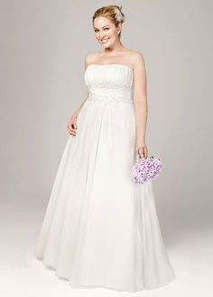 Chiffon soft a-line with beaded lace on empire. See More DB Woman Gowns, at David's Bridal Wedding Dresses Photos, Used Wedding Dresses, Wedding Dresses Plus Size, Plus Size Wedding, Bridal Dresses, Wedding Gowns, Women's Dresses, Wedding Pictures, Party Dresses
