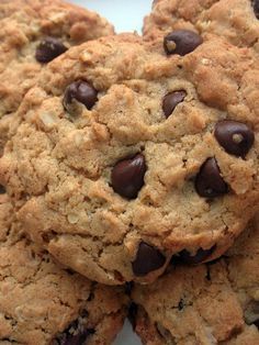 Thermomix Recipes: Chocolate Chip Cookies with Thermomix Healthy Cookies, Healthy Sweets, Oatmeal Chocolate Chip Cookie Recipe, Oatmeal Cookies, Chocolate Chips, Healthy Chocolate, Coconut Chocolate, Chocolate Oatmeal, Raisin Cookies