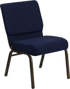 HERCULES Series 21'' Extra Wide Navy Blue Dot Patterned Stacking Church Chair with 4'' Thick Seat - Gold Vein Frame FD-CH0221-4-GV-S0810-GG by Flash Furniture