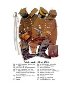 """Polish cavalry officer, 1939 01 - """"rogatywka"""" garrison cap 02 - forage cap 03 - round cap of the Cavalry Regiment 04 - . Ww2 Uniforms, Military Uniforms, Garrison Cap, Military Insignia, Army Uniform, Military Equipment, Military History, Armed Forces, World War Two"""