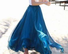 Peacock blue Chiffon skirt Maxi Skirt Long Skirt Maxi Dress Silk chiffon dress Women Silk Skirt Beach Skirt plus size dress Pleat skirt 147