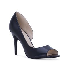 Women's NINE WEST Dorey Toe Pump - Black - Leather D'Orsay inspired peep toe pump on a 4'' heel. - Features: Leather upper - D'Orsay inspiration - Peep toe.