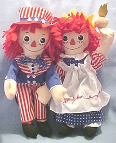 Raggedy Ann n Andy Statue of Liberty Uncle Sam SET OF 2