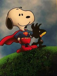 Snoopy as SNOOPERMAN and Woodstock as BATBIRD