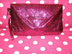 NEW ♥ VICTORIA SECRET ♥ PINK GLITTER BLING PURSE CLUTCH COSMETIC BAG CASE NWT