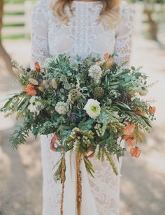 Earthy Boho Bouquet with touches of orange and peachy pink