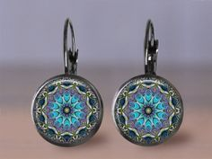 Earring Jewelry  Blue Mandala French Earwire by MaDGreenCreations, $9.95