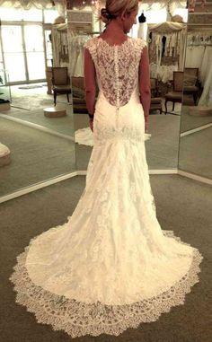 Low back lace Allure bridal gown- gorgeous Lace Back Wedding Dress, Lace Dress, Lace Wedding, Dream Wedding, Bridal Gowns, Wedding Gowns, Allure Bridal, Lace Bridesmaid Dresses, Wedding Ideas