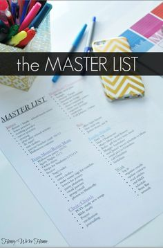 """""""The Master List"""" - organize your to-do's into categories on a computer list. Save it and update it as often as needed. http://honeywerehome.blogspot.com/2013/10/living-organized-life-master-list.html"""