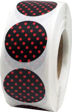 Black Stickers with Red Polka Dots  0.75 Inch by TheDotSpotLane