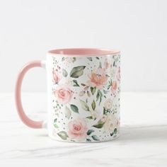 Sunny Floral Pastel Pink Watercolor Flowers Mug - floral style flower flowers stylish diy personalize Cute Coffee Mugs, Cute Mugs, Coffee Cups, Mugs For Men, Watercolor Rose, Personalized Mugs, Ceramic Painting, Flower Pots, Potted Flowers