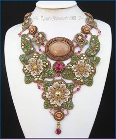 ~~Eden bead embroidery necklace with pink roses by MiriamShimon~~