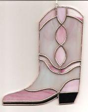 Handmade Stained Glass COWBOY BOOT Suncatcher (Boot09)