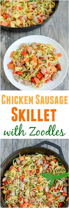 This gluten-free Chicken Sausage Skillet with Zoodles recipe will quickly become one of your go-to dinners. It's simple, healthy and easy to customize with whatever vegetables you have on hand. Paleo Chicken Recipes, Zoodle Recipes, Spiralizer Recipes, Veggetti Recipes, Turkey Recipes, Clean Eating Recipes, Healthy Dinner Recipes, Healthy Eating, Paleo Dinner