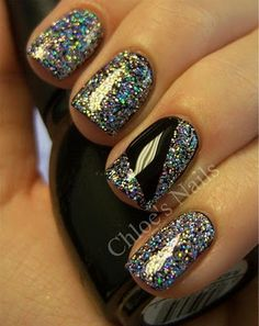Sparkle and Jet Black Nails