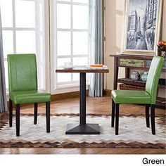 Modern Upholstered Faux Leather Parson Dining Chair with Solid Wood Legs in Espresso Finish - Includes Modhaus Living Pen (Green)