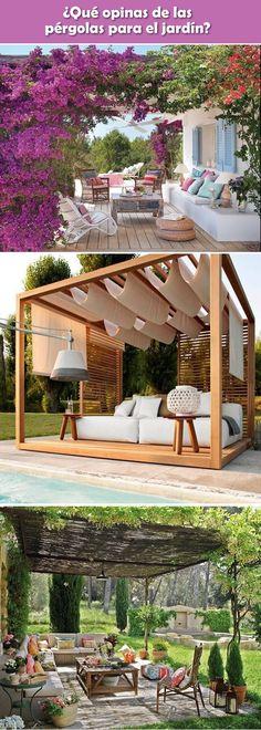 Pérgolas para patios y jardines. Ideas para exteriores. Sombra para patios y jardines.
