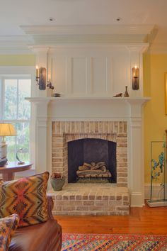 Bedroom Fireplace, Home Fireplace, Fireplace Remodel, Living Room With Fireplace, Brick Fireplace, Fireplace Surrounds, Fireplace Design, Home Living Room, Living Spaces