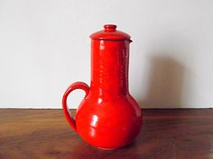 Midcentury Vallauris Charles Voltz Orange Red Chocolate Pot, Provençal Pottery.