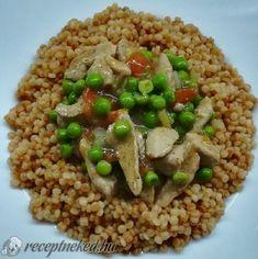 Zöldborsós tokány pirított tarhonyával Black Eyed Peas, Risotto, Grains, Recipies, Pork, Food And Drink, Rice, Favorite Recipes, Ethnic Recipes