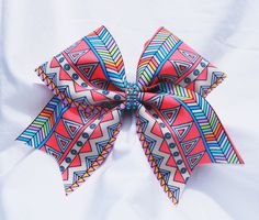 Cheer bow- orange Aztec print bow- cheerleading bow- cheer bow- soft ball bow- dance bow- cheerbow - pinned by pin4etsy.com